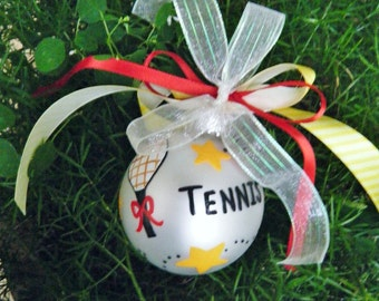 Tennis Ornament - Personalized Tennis Racket, Tennis Star, Tennis Coach Gift, Tennis Pro - Hand Painted Christmas Ornament, Tennis Gift