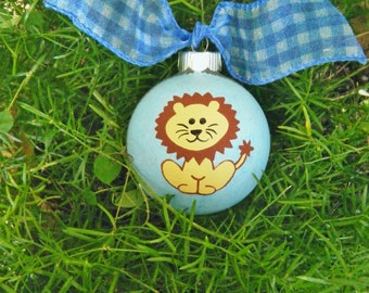 Lion Ornament  - Personalized FREE - Hand Painted Christmas Ornament, Safari Lion, Circus Lion, African Lion, Wild Animal, Phi Mu Symbol
