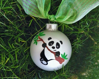 Panda Bear Ornament - Personalized Hand Painted Christmas Ornament, Panda Baby Shower, Bauble, Zoo Animal, Asian Vacation, Far East