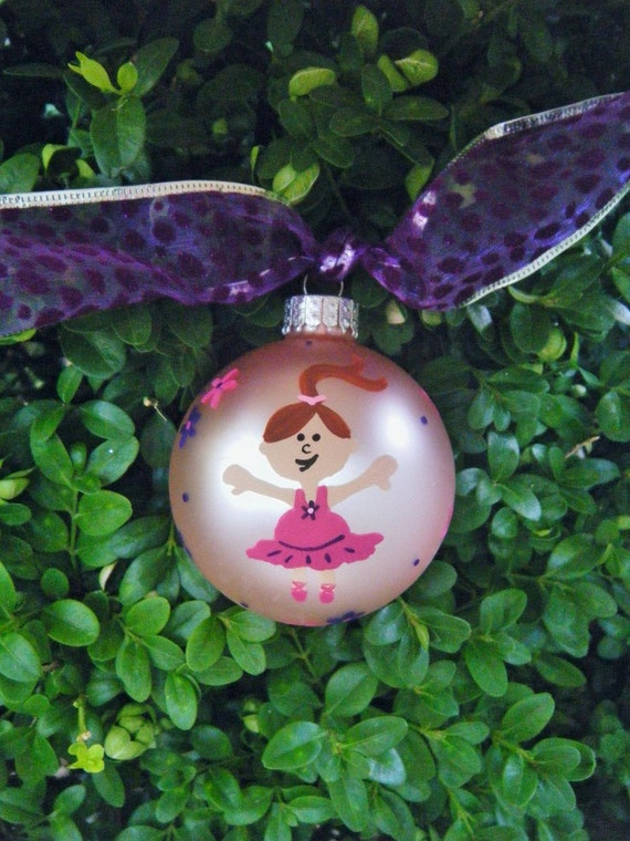 Ballerina Dance Ornament - Dancer with Pink Tutu - Hand Painted Personalized Ornament, Christmas Ornament, Personalized Bauble, Baby Shower