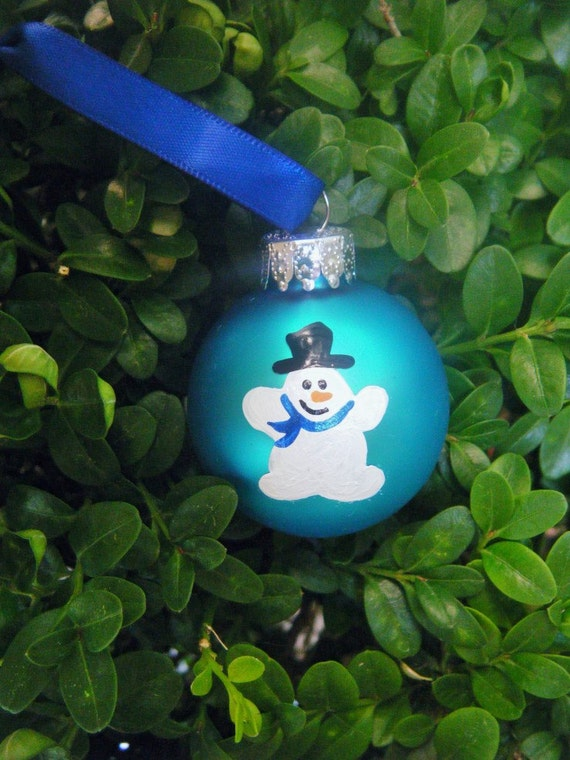 Snowman Christmas Ornaments - Ten Mini Hand Painted Snowmen, bright blue glass ornaments, Christmas Ornaments, Party Favor, Hostess Gift