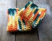 Set of Two Large Crochet Dishcloths or Washcloths Fiesta Colors: Orange, Green, Yellow and White