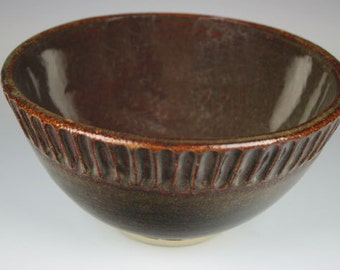 Ceramic Bowl. Small Ceramic Bowl with Carved Rim