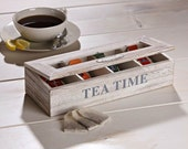 Tea Box •  Wood Tea Box • Tea Storage Organizer
