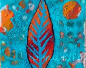 """Wing Feather: Mixed Media Painting PRINT 6""""x6"""""""