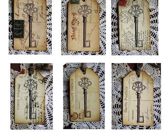 Vintage Style Tag Postcard and Key Handmade Gift Tags