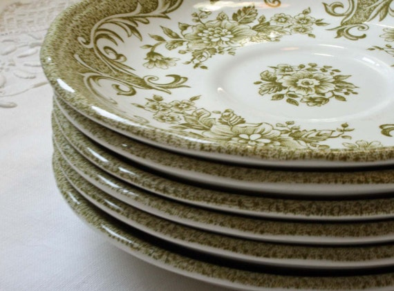 Green Transferware Saucers Avondale by Meakin Royal Staffordshire Ironstone