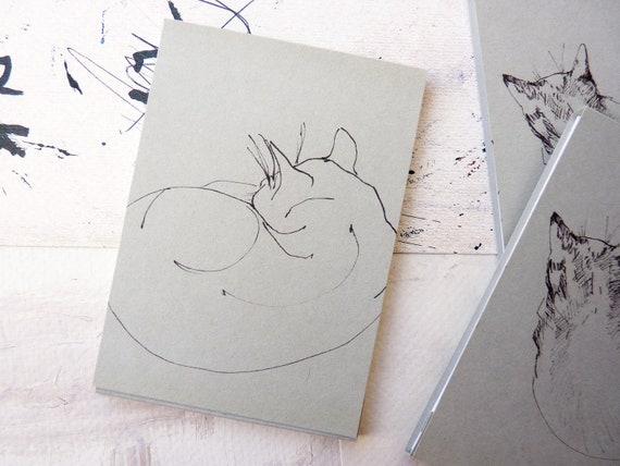 NOTEBOOK original illustration handmade A7 - Frida the cat series