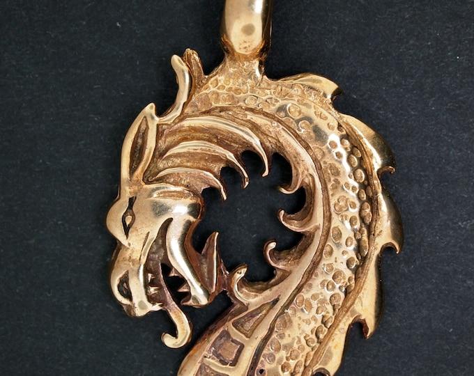 Dragon Head Pendant in Antique Bronze