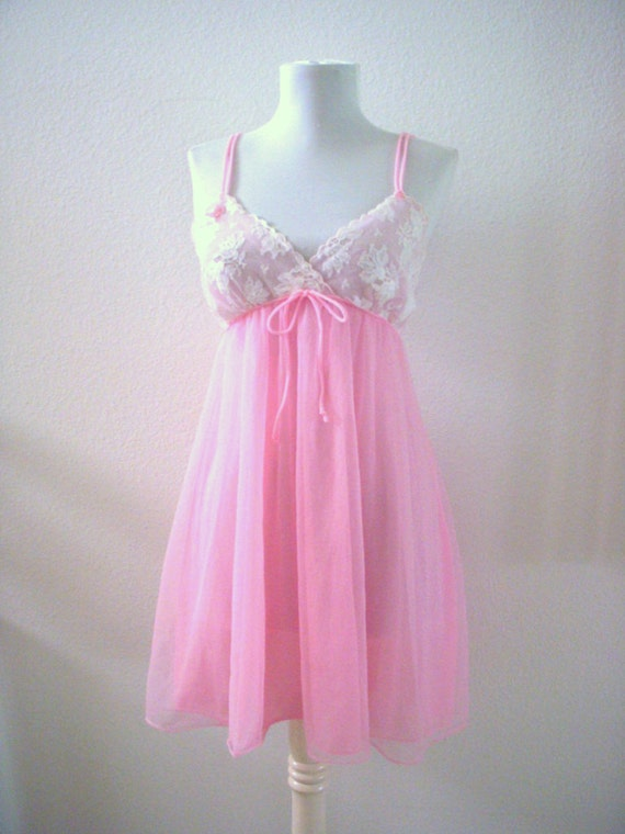 Vintage 50s 60s Pink Chiffon Nightgown Babydoll Double Chiffon Pastel Pink Pin Up Nightgown Size Small Vintage Lingerie