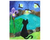 BLACK CAT and FIREFLIES, 16x20 Original Painting Acrylic on Canvas, Whimsical Cat Painting - nJoyArt