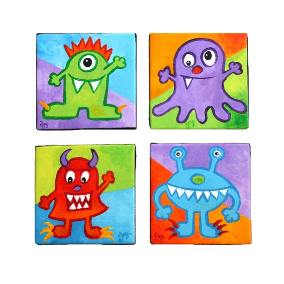 Childrens Wall Decor Canvas : Childrens wall art little monsters four acrylic canvas