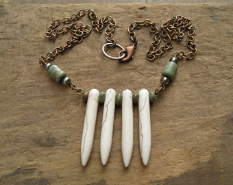 White Spike Tribal Necklace, raw copper chain, green turquoise, and white howlite spike Bohemian Boho hippie jewelry, rustic necklace