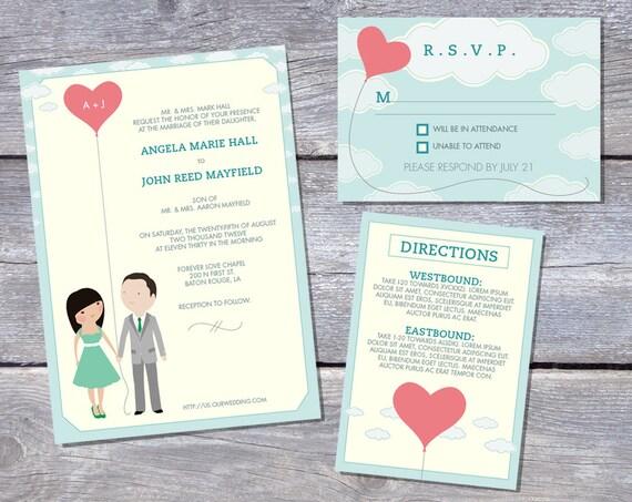 Wedding Invitation Suite Custom Cartoon printable design - Love's Afloat design (full length)