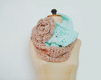 Knitted Mint Green Cowl Color Block Loop Circle Scarf with large flower pin brooch