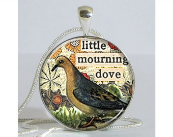Mourning Dove Altered Art Silver Plated Necklace with Chain Altered Art Pendant Resin Pendant Picture Pendant Art Pendant Photo Pendant