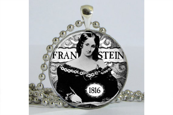 Mary Shelley Frankenstein Silver Plated Necklace with Chain Altered Art Pendant  Resin Pendant Picture Pendant Art Pendant Photo Pendant