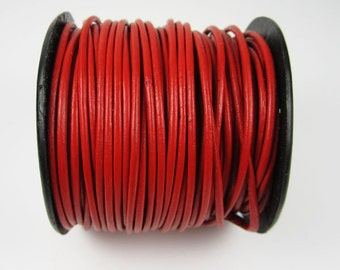 25 Yard Spool - 1mm Red Leather Cord