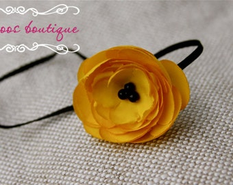 baby headband, yellow headband, black skinny elastic
