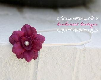 purple baby headband, newborn headband, small purple flower headband