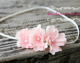 soft pink baby flower headband, Newborn Headband, Baby Headband, Pink Small FLower Headband