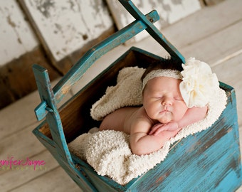 ivory baby headband, baptism headband, christening headband, ivory flower headband