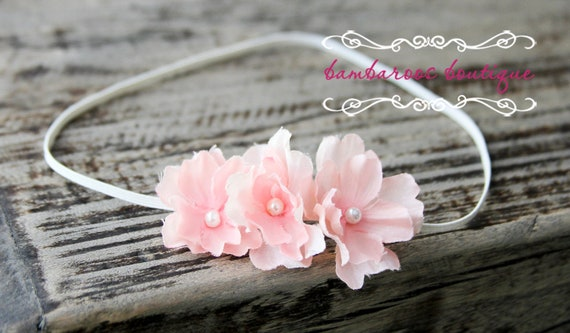 soft pink baby flower headband, Newborn Headband, Baby Headband, Pink Small FLower Headband