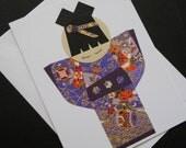 Japanese Kimono Doll Greeting Card - Regal Purples