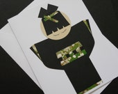Japanese Kokeshi Doll Greeting Card - Black Kimono