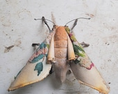 Soft sculpture moth. Unique textile art.