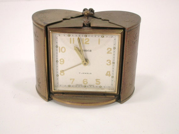 Reserved for Judith - Vintage Semca 7 Jewels Boudoir Alarm Clock in Travel Case  Swiss Made