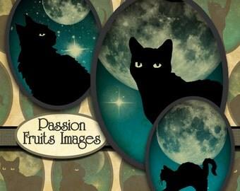 Black Cats on Teal Skies Halloween 30x40 Digital Collage Sheet