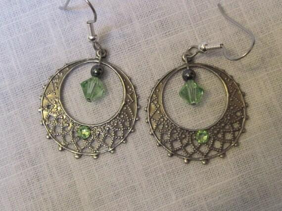 Peridot Swarovski crystal in filigree antique silver hoop earrings