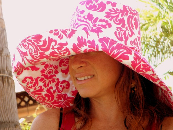"""Sunhat Women in Cotton """"Summertime"""" Pink and White Sun Hat Wide Brim by Freckles California"""