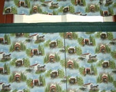 FREE SHIPPING Curtain Tiers and Matching Tab Top Valance, Covered Bridges with Horse and Buggy, Fully Lined