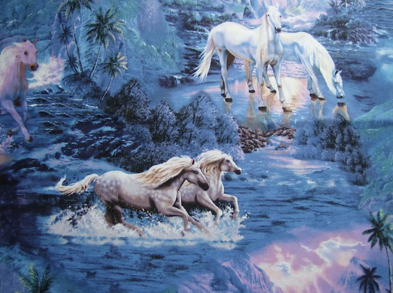 Horse Fabric - Silver/white horses on blue background 100% cotton fabric - 1 yard