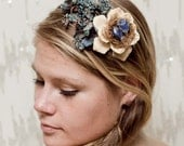 Reserved For Terri - Blue Bird Nest Wood Rose Headband - flowers, woodland, forest