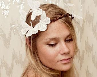 White Sparkle Butterfly Crown - Wedding, bride, fantasy, woodland