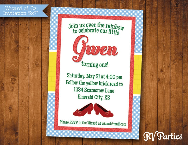 wizard of oz birthday invitation or shower pdf by rvparties