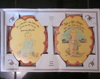 Vintage 1970s Rustic Wooden Plaques - Pat A Cake & Ride A Little Horsey