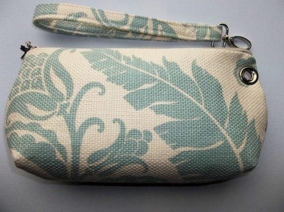 Wristlet, Clutch, Detachable Strap, Repurposed Home Decor Fabric Sample