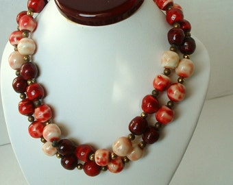 Vintage CZECH Cranberry Glass Bead Necklace Exquisite