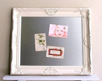 Dry Erase Board MAGNETIC Board Steel Metal Magnet Board Inspiration Board  Bulletin Kitchen Framed Ornate Ivory