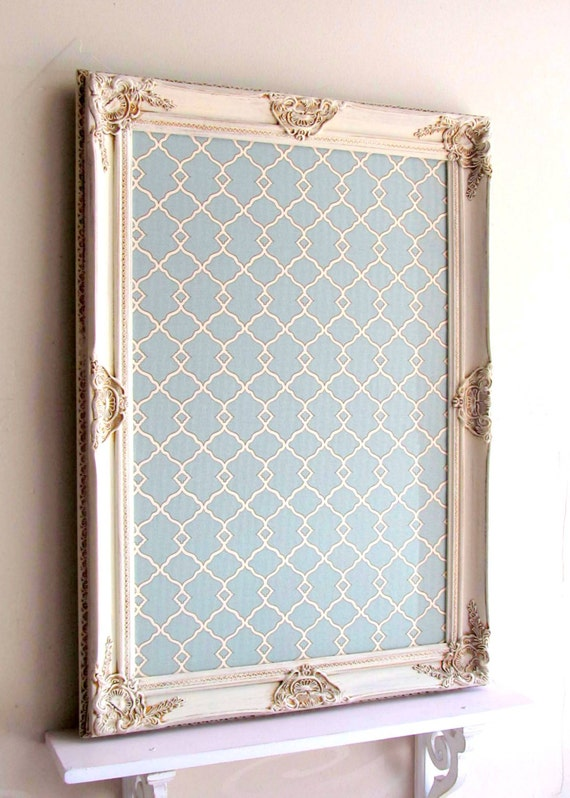 items similar to decorative magnet board framed bulletin board teal moroccan fabric board vintage decor tuscan old world decor kitchen office organizer on