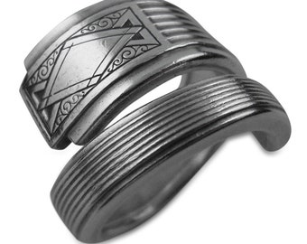 Eco Friendly Art Deco Spoon Ring - Noblesse - Silver Spon Jewelry