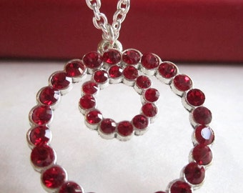 Red Swarovski Crystal Necklace Circle Pendant Necklace with Sterling Silver  - Circle of Hope