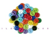 50 pcs 8MM 2 Holes Round Buttons / Plastic Buttons / Sew-through Buttons / A set of 50 pcs mixed colors