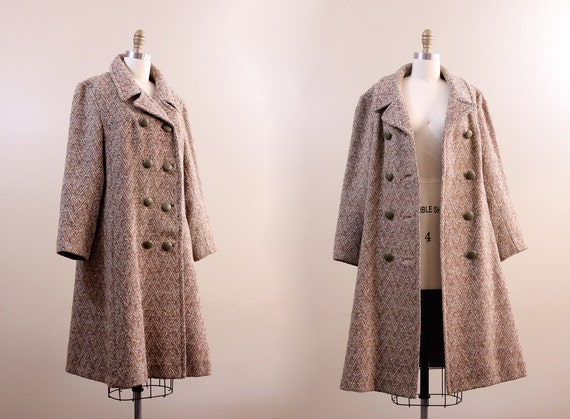 1950s coat // retro vintage wool swing coat // XL // green leather buttons