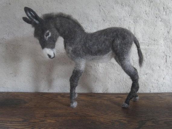 Needle felted donkey - ready to ship