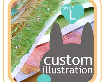 Custom watercolor illustration - book illustration - your idea made into picture - size L, 10,5 inch
